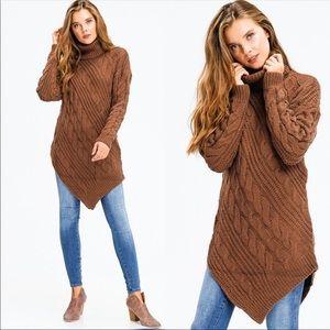 Sweaters - ✅ ON SALE New Asymmetrical Chocolate Tunic Sweater